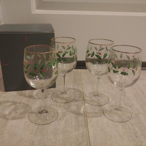 Lenox Holiday Christmas Goblet Glasses set of 4